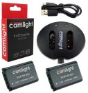 CAMLIGHT ŁADOWARKA Dual 2x bateria akumulator do Sony Cyber-shot HDR-GW66VE